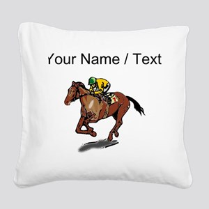 Custom Race Horse Square Canvas Pillow