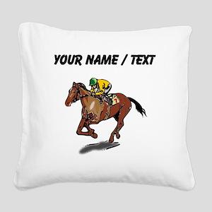 Custom Race Horse Square Canvas Pillow