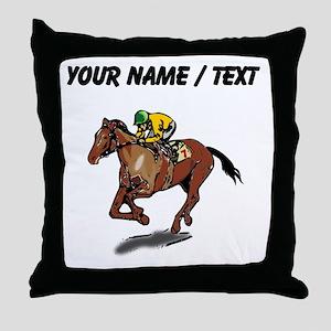 Custom Race Horse Throw Pillow