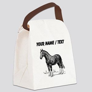 Custom Clydesdale Horse Sketch Canvas Lunch Bag