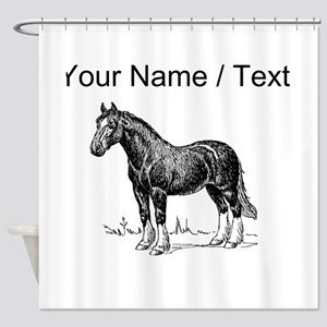 Custom Clydesdale Horse Sketch Shower Curtain