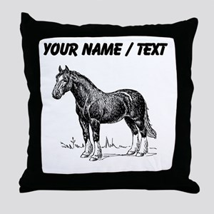 Custom Clydesdale Horse Sketch Throw Pillow