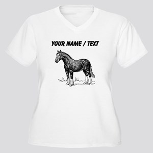 Custom Clydesdale Horse Sketch Plus Size T-Shirt