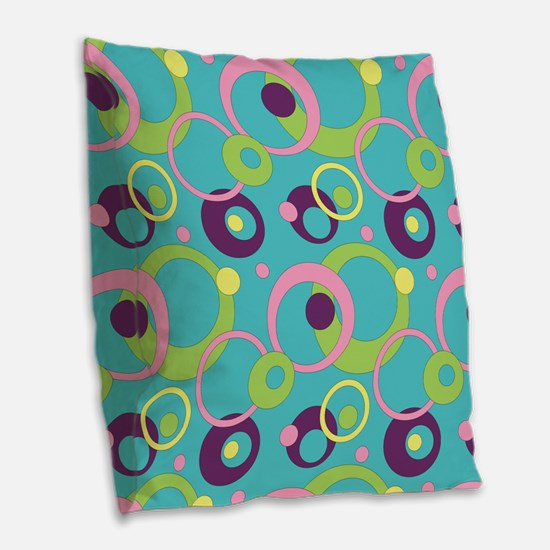 Funky Blue Circles Burlap Throw Pillow