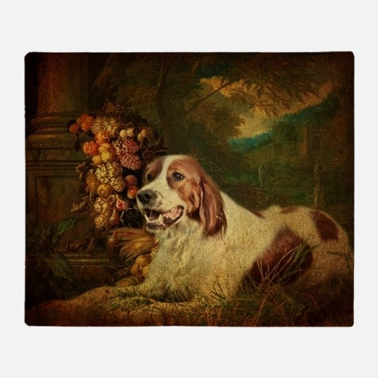 vintage dog nature landscape Throw Blanket