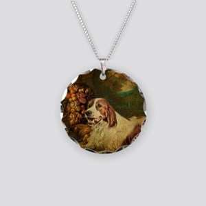 vintage dog nature landscape Necklace Circle Charm