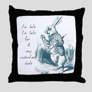 Late Rabbit Throw Pillow