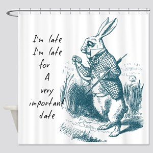 Late Rabbit Shower Curtain