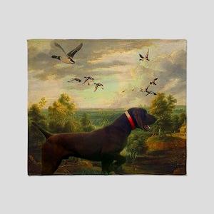 hunt dog nature landscape Throw Blanket