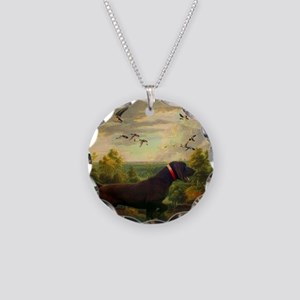 hunt dog nature landscape Necklace Circle Charm