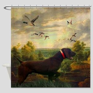 hunt dog nature landscape Shower Curtain