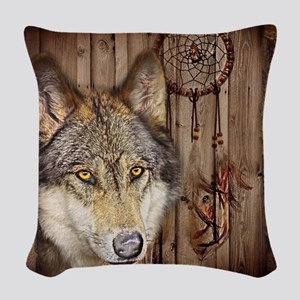 wolf dream catcher birch woodg Woven Throw Pillow