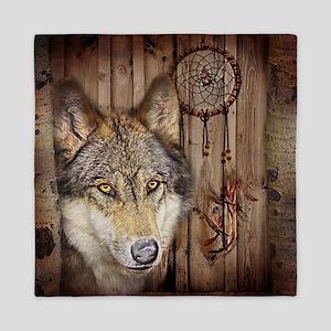 wolf dream catcher birch woodgrain Queen Duvet
