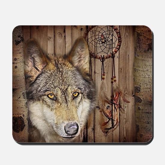 wolf dream catcher birch woodgrain Mousepad