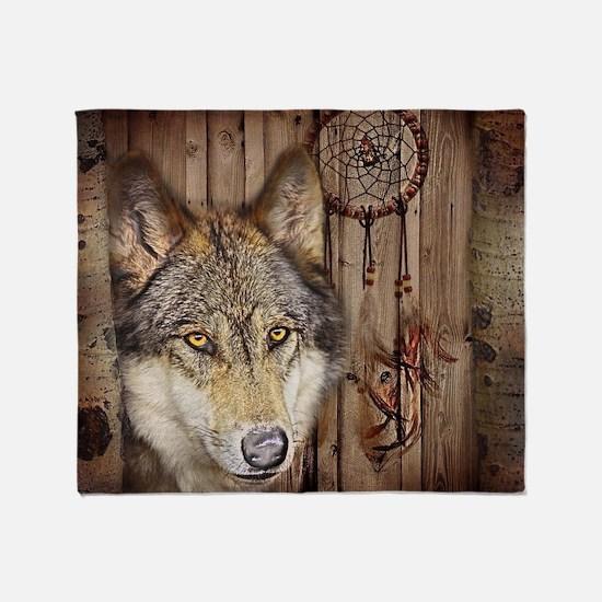 wolf dream catcher birch woodgrain Throw Blanket