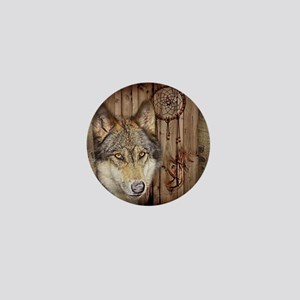 wolf dream catcher birch woodgrain Mini Button