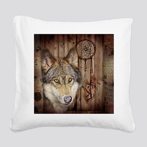 wolf dream catcher birch wood Square Canvas Pillow