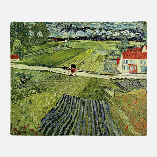 Van Gogh - Landscape with Carriage a Throw Blanket