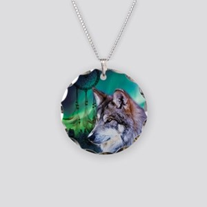 native dream catcher wolf no Necklace Circle Charm