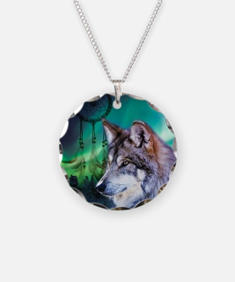 native dream catcher wolf no Necklace