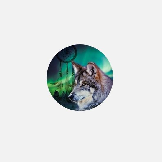 native dream catcher wolf northern lig Mini Button