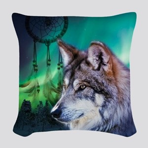 native dream catcher wolf nort Woven Throw Pillow