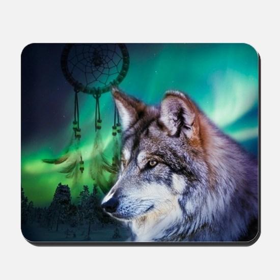native dream catcher wolf northern light Mousepad