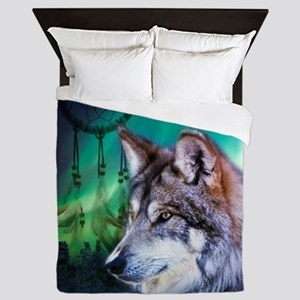 native dream catcher wolf northern lig Queen Duvet