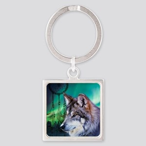 native dream catcher wolf northern Square Keychain