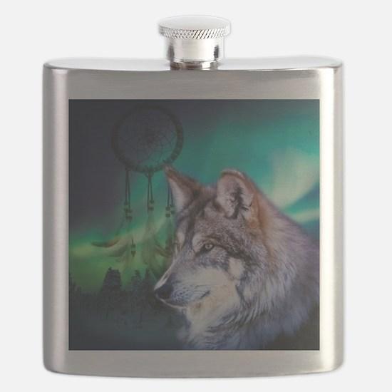 native dream catcher wolf northern light Flask