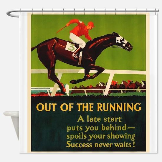 Horse, Jockey, Motivational, Vintage Poster Shower