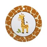 Yellow Giraffe with Giraffe Print Ornament (Round)
