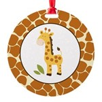 Yellow Giraffe with Giraffe Print Ornament