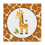 Yellow Giraffe with Giraffe Print Tile Coaster