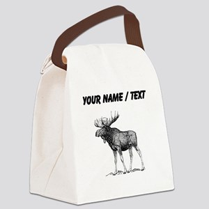 Custom Moose Sketch Canvas Lunch Bag