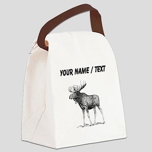 Custom Moose Sketch Canvas Lunch Bag