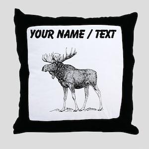 Custom Moose Sketch Throw Pillow