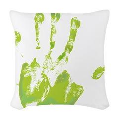 Green Left Handprint - Woven Throw Pillow