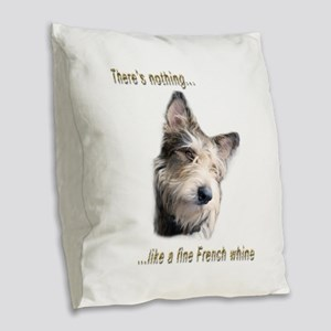 French Whine Burlap Throw Pillow