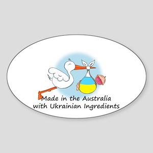 Stork Baby Ukraine Australia Sticker (Oval)