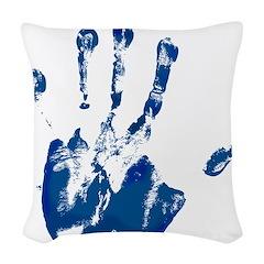 Blue Left Handprint - Woven Throw Pillow