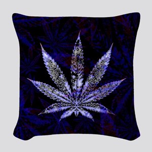 Blue Leaf Woven Throw Pillow