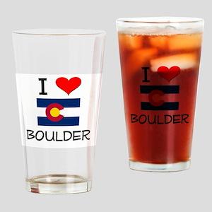I Love Boulder Colorado Drinking Glass