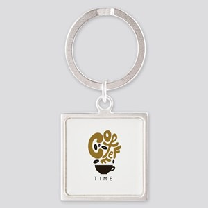 Coffee Time Square Keychain
