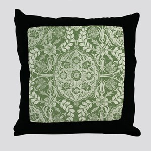 Lovely Vintage Antique Damask Panel Throw Pillow
