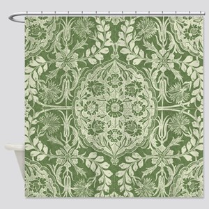 Lovely Vintage Antique Damask Panel Shower Curtain