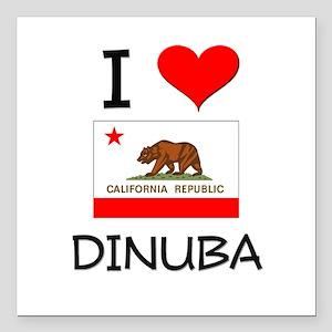 "I Love Dinuba California Square Car Magnet 3"" x 3"""