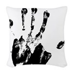 Black Left Handprint - Woven Throw Pillow