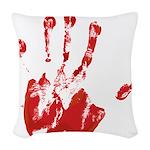 Red Left Handprint - Woven Throw Pillow
