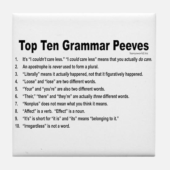 Grammar Peeves Tile Coaster